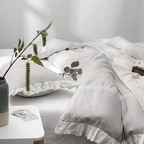 SimpleOpulence 100 Linen Frill Floral Flax Twin Size Duvet Cover Set 68x86 Shabby Chic Ruffle Edge With Lace Stripe 3 Piece Farmhouse Bedding 1 Comforter Cover And 1 Pillowsham Floral Grey 0 5