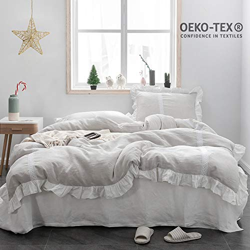 SimpleOpulence 100 Linen Frill Floral Flax Twin Size Duvet Cover Set 68x86 Shabby Chic Ruffle Edge With Lace Stripe 3 Piece Farmhouse Bedding 1 Comforter Cover And 1 Pillowsham Floral Grey 0