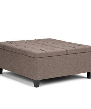 Simpli Home Harrison 36 Inch Wide Square Coffee Table Lift Top Storage Ottoman Cocktail Footrest Stool In Upholstered Fawn Brown Tufted Linen Look Fabric For The Living Room Traditional 0 300x360