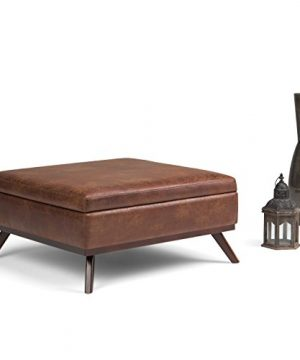Simpli Home Owen 36 Inch Wide Square Coffee Table Lift Top Storage Ottoman Cocktail Footrest Stool In Upholstered Distressed Saddle Brown Faux Air Leather Mid Century Modern Living Room 0 0 300x360