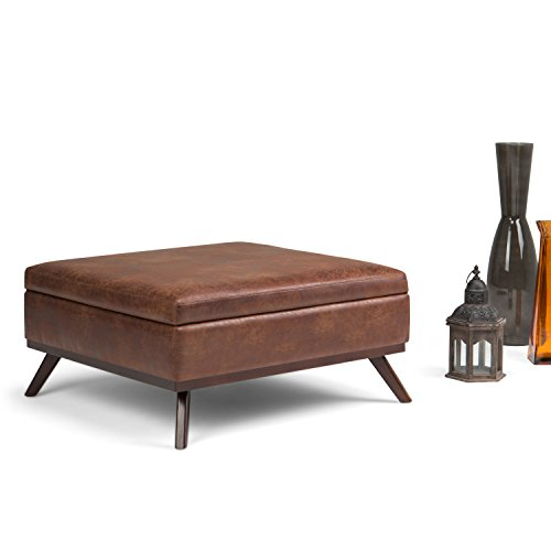 Simpli Home Owen 36 Inch Wide Square Coffee Table Lift Top Storage Ottoman Cocktail Footrest Stool In Upholstered Distressed Saddle Brown Faux Air Leather Mid Century Modern Living Room 0 0