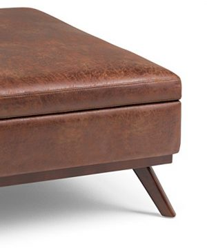 Simpli Home Owen 36 Inch Wide Square Coffee Table Lift Top Storage Ottoman Cocktail Footrest Stool In Upholstered Distressed Saddle Brown Faux Air Leather Mid Century Modern Living Room 0 3 300x360