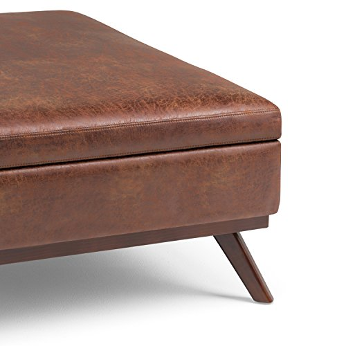 Mid Century Modern SIMPLIHOME Owen 36 inch Wide Rectangular Coffee Table Lift Top Storage Ottoman Cocktail Footrest Stool in Upholstered Distressed Saddle Brown Faux Air Leather for The Living Room
