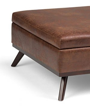 Simpli Home Owen 36 Inch Wide Square Coffee Table Lift Top Storage Ottoman Cocktail Footrest Stool In Upholstered Distressed Saddle Brown Faux Air Leather Mid Century Modern Living Room 0 4 300x360