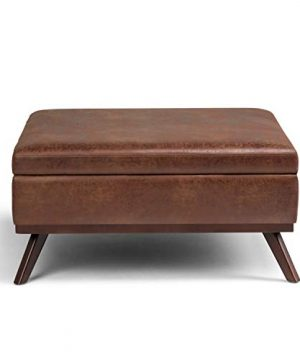 Simpli Home Owen 36 Inch Wide Square Coffee Table Lift Top Storage Ottoman Cocktail Footrest Stool In Upholstered Distressed Saddle Brown Faux Air Leather Mid Century Modern Living Room 0 5 300x360