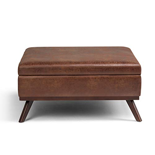 Simpli Home Owen 36 Inch Wide Square Coffee Table Lift Top Storage Ottoman Cocktail Footrest Stool In Upholstered Farmhouse Goals