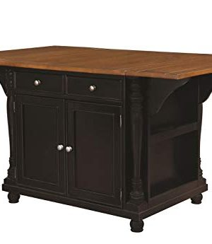 Slater 2 Drawer Kitchen Island With Drop Leaves Brown And Black 0 300x345