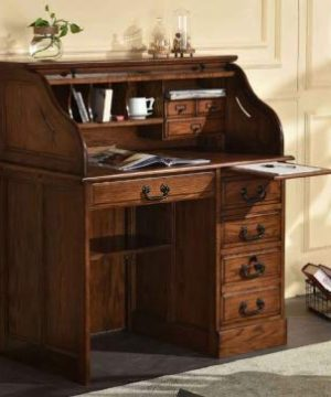 Small Home Office Or Student Roll Top Desk Solid Oak Wood Single Pedestal 42Wx24Dx45H BW Organizer Desk Quality Crafted Construction Locking File Drawers Dovetailed Secretary Desk Easy Assembly 0 300x360