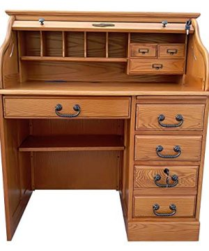 Small Roll Top Desk For Home Office Or Student Solid Oak Wood Single Pedestal 42Wx24Dx45H Harvest Stain Quality Crafted Construction Locking File Drawers Dovetailed Secretary Desk Easy Assembly 0 300x360