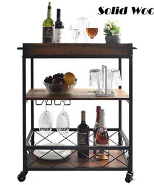 Solid Wood Kitchen Cart With 3 Tier Shelves Industrial Vintage Style Wood Metal Serving Trolley Rolling Wood Serving Bar Cart With Removable Top Box Container And Lockable Caster Brown 0 300x360