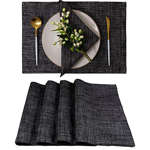 Spring Garden Home Black And White Placemats For Dining Tables Farmhouse Decoraitve Washable Cloth Placemats For Kitchen And Parties 13 X 19 Inches Set Of 4 0
