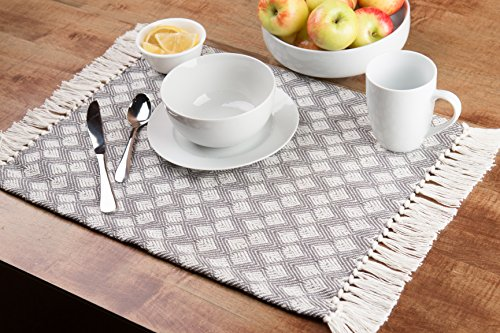 Sticky Toffee Cotton Woven Placemat Set With Fringe Scalloped Diamond 4 Pack Gray 14 In X 19 In 0 0