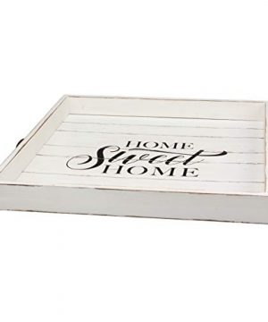 Stonebriar Square Worn White Sweet Home Wooden Serving Tray With Metal Handles 0 0 300x360