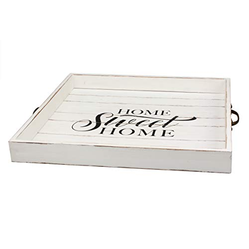 Stonebriar Square Worn White Sweet Home Wooden Serving Tray With Metal Handles 0 0