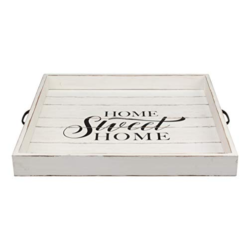 Stonebriar Square Worn White Sweet Home Wooden Serving Tray With Metal Handles 0 1