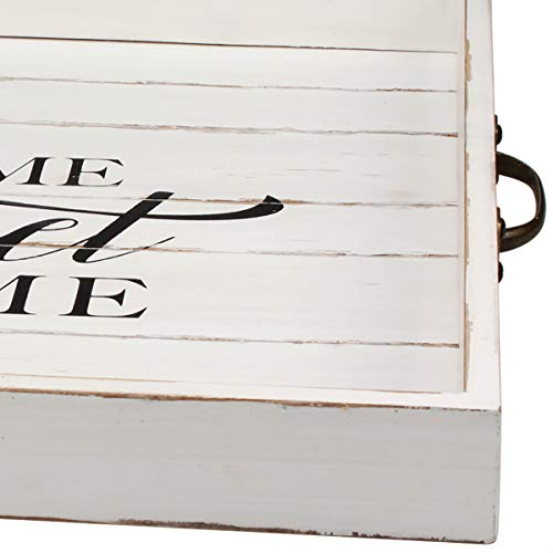 Stonebriar Square Worn White Sweet Home Wooden Serving Tray With Metal Handles 0 2