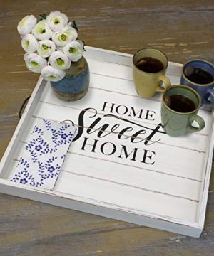 Stonebriar Square Worn White Sweet Home Wooden Serving Tray With Metal Handles 0 3 300x360