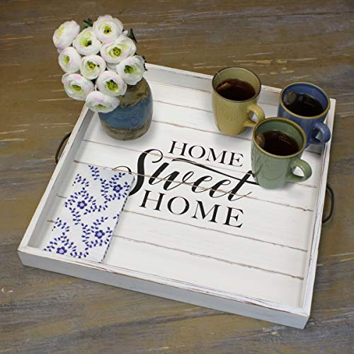 Stonebriar Square Worn White Sweet Home Wooden Serving Tray With Metal Handles 0 3