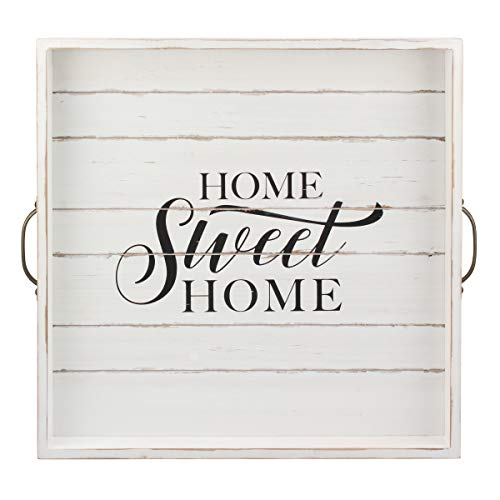 Stonebriar Square Worn White Sweet Home Wooden Serving Tray With Metal Handles 0
