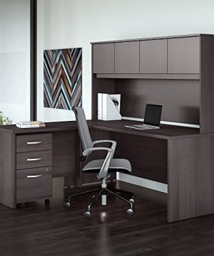 Studio C 72W X 30D L Shaped Desk With Hutch Mobile File Cabinet And 42W Return In Storm Gray 0 300x360
