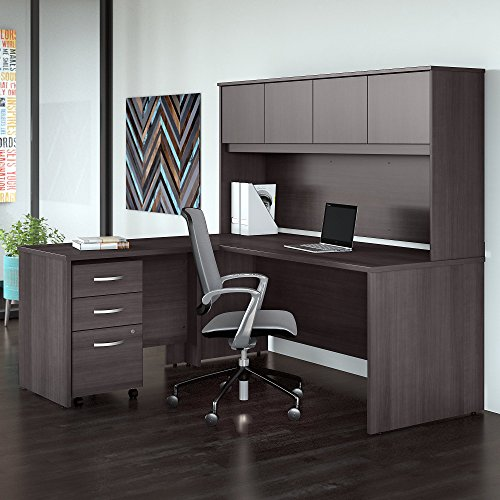 Mobile File Cabinet and 42W Return in Storm Gray Studio C 72W x 30D L Shaped Desk with Hutch