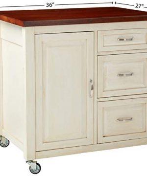 Sunset Trading Andrews Kitchen Cart Distressed Antique WhiteChestnut TopAntique White Base 0 3 300x360