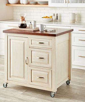 Sunset Trading Andrews Kitchen Cart Distressed Antique WhiteChestnut TopAntique White Base 0 5 300x360