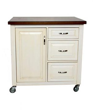 Sunset Trading Andrews Kitchen Cart Medium One Size Distressed Antique White With Chestnut Top 0 300x360
