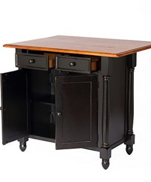 Sunset Trading Black Cherry Selections Kitchen Island Two Door Two Drawers Distressed Antique 0 300x360