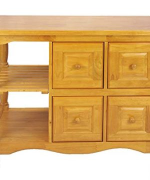 Sunset Trading Oak Selections Kitchen Cart Four Drawers Light 0 300x360
