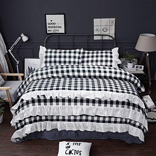 Piece Farmhouse Duvet Cover Set Twin, Black And White Check Queen Bedding