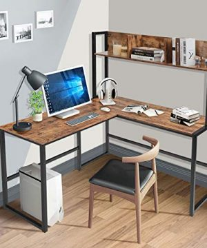 Tangkula 55 Inches L Shaped Desk Space Saving Corner Computer Desk Study Writing Table With Storage Hutch Computer Workstation With Storage Bookshelf Gaming Table Home Office Desk Walnut 0 0 300x360