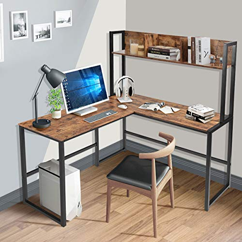 Tangkula 55 Inches L Shaped Desk Space Saving Corner Computer Desk Study Writing Table With Storage Hutch Computer Workstation With Storage Bookshelf Gaming Table Home Office Desk Walnut 0 0