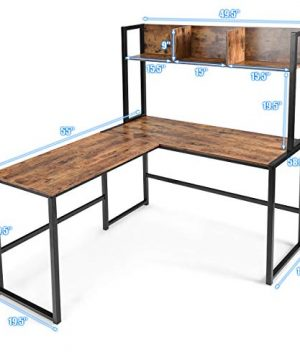 Tangkula 55 Inches L Shaped Desk Space Saving Corner Computer Desk Study Writing Table With Storage Hutch Computer Workstation With Storage Bookshelf Gaming Table Home Office Desk Walnut 0 1 300x360