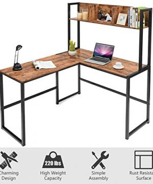 Tangkula 55 Inches L Shaped Desk Space Saving Corner Computer Desk Study Writing Table With Storage Hutch Computer Workstation With Storage Bookshelf Gaming Table Home Office Desk Walnut 0 4 300x360
