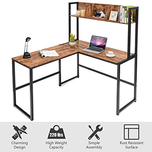 Tangkula 55 Inches L Shaped Desk Space Saving Corner Computer Desk Study Writing Table With Storage Hutch Computer Workstation With Storage Bookshelf Gaming Table Home Office Desk Walnut 0 4