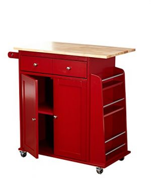 Target Marketing Systems Sonoma Collection Two Toned Rolling Kitchen Cart With Drawer Cabinet And Spice Rack RedNatural 0 0 300x360