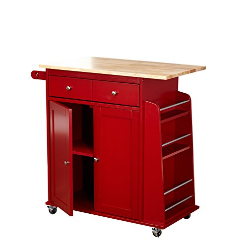 Target Marketing Systems Sonoma Collection Two Toned Rolling Kitchen Cart With Drawer Cabinet And Spice Rack RedNatural 0 0