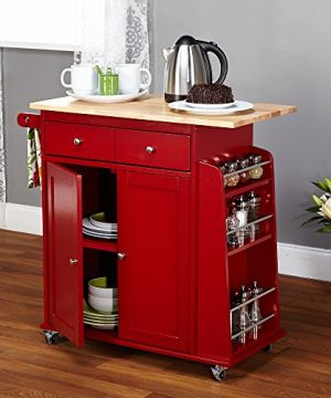 Target Marketing Systems Sonoma Collection Two Toned Rolling Kitchen Cart With Drawer Cabinet And Spice Rack RedNatural 0 1 300x360