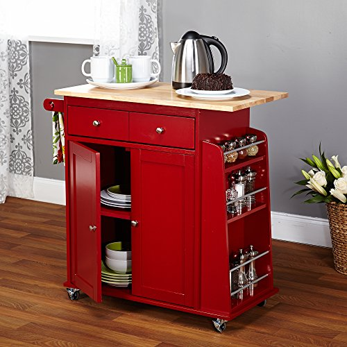 Target Marketing Systems Sonoma Collection Two Toned Rolling Kitchen Cart With Drawer Cabinet And Spice Rack RedNatural 0 1