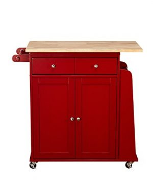 Target Marketing Systems Sonoma Collection Two Toned Rolling Kitchen Cart With Drawer Cabinet And Spice Rack RedNatural 0 300x360