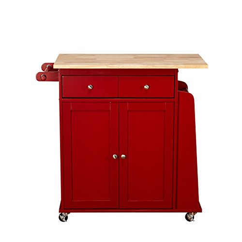 Target Marketing Systems Sonoma Collection Two Toned Rolling Kitchen Cart With Drawer Cabinet And Spice Rack RedNatural 0
