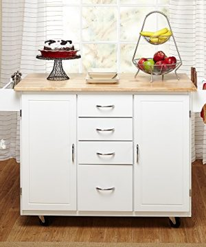 Target Marketing Systems Two Toned Country Cottage Rolling Kitchen Cart With 4 Drawers 2 Cabinets 1 Towel Rack 1 Spice Rack And An Adjustable Shelf WhiteNatural 0 0 300x360