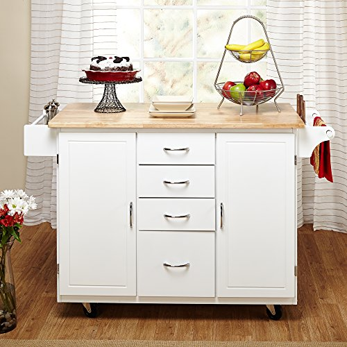Target Marketing Systems Two Toned Country Cottage Rolling Kitchen Cart With 4 Drawers 2 Cabinets 1 Towel Rack 1 Spice Rack And An Adjustable Shelf WhiteNatural 0 0