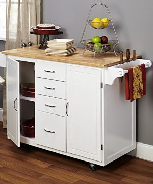 Target Marketing Systems Two Toned Country Cottage Rolling Kitchen Cart With 4 Drawers 2 Cabinets 1 Towel Rack 1 Spice Rack And An Adjustable Shelf WhiteNatural 0 1 300x360