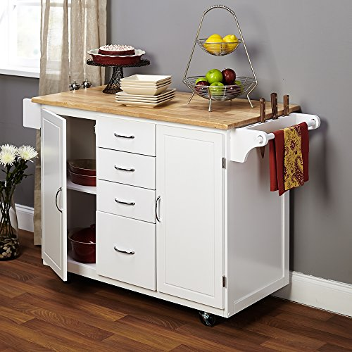 Target Marketing Systems Two Toned Country Cottage Rolling Kitchen Cart With 4 Drawers 2 Cabinets 1 Towel Rack 1 Spice Rack And An Adjustable Shelf WhiteNatural 0 1