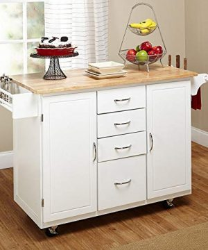 Target Marketing Systems Two Toned Country Cottage Rolling Kitchen Cart With 4 Drawers 2 Cabinets 1 Towel Rack 1 Spice Rack And An Adjustable Shelf WhiteNatural 0 2 300x360