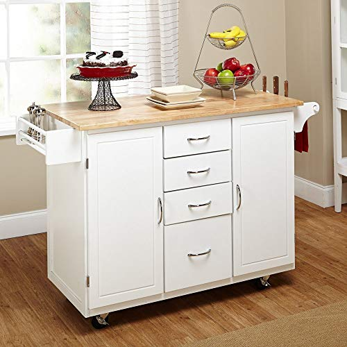 Target Marketing Systems Two Toned Country Cottage Rolling Kitchen Cart With 4 Drawers 2 Cabinets 1 Towel Rack 1 Spice Rack And An Adjustable Shelf WhiteNatural 0 2