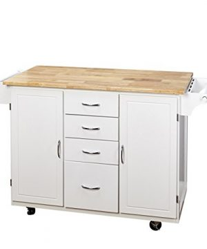 Target Marketing Systems Two Toned Country Cottage Rolling Kitchen Cart With 4 Drawers 2 Cabinets 1 Towel Rack 1 Spice Rack And An Adjustable Shelf WhiteNatural 0 300x360