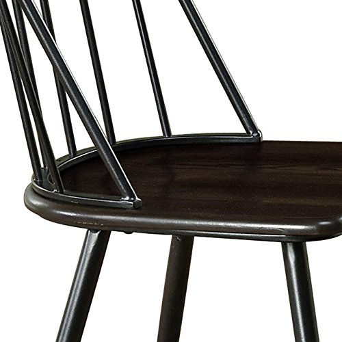 Target Marketing Systems Windsor Set Of 2 Mixed Media Spindle Back Dining Chairs With Saddle Seat Set Of 2 BlackEspresso 0 0